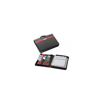 Image of A4 Zipped Wall Street Conference folder with D Ring binder (in red and black)