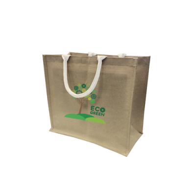 Image of Large Natural Jute Bag With Large Gusset