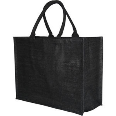 Image of Large Black Jute Bag With 40cm Cotton Web Handles