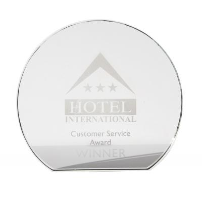 Image of 12.5cm x 19mm Clear Glass Freestanding Circle Award